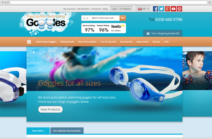 prescription swimming goggles website preview